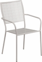 Light Gray Indoor-Outdoor Steel Patio Arm Chair with Square Back [CO-2-SIL-GG]