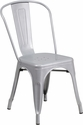 Silver Metal Indoor-Outdoor Stackable Chair [CH-31230-SIL-GG]