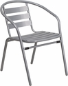 Silver Metal Restaurant Stack Chair with Aluminum Slats [TLH-017C-GG]
