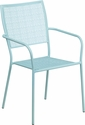 Sky Blue Indoor-Outdoor Steel Patio Arm Chair with Square Back [CO-2-SKY-GG]