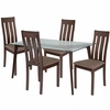 Sonoma 5 Piece Espresso Wood Dining Table Set with Glass Top and Vertical Slat Back Wood Dining Chairs - Padded Seats [ES-126-GG]