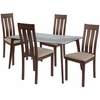 Sonoma 5 Piece Walnut Wood Dining Table Set with Glass Top and Vertical Slat Back Wood Dining Chairs - Padded Seats [ES-140-GG]