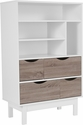 St. Claire Collection Bookshelf and Storage Cabinet in White Finish with Oak Wood Grain Drawers [EV-BC-1080-02-W-GG]