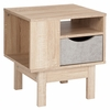 St. Regis Collection End Table in White Finish with Oak Wood Grain Drawer [EV-ST-2847-01-G-GG]