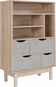 St. Regis Collection Bookshelf and Storage Cabinet in Oak Wood Grain Finish with Gray Drawers [EV-BC-1080-02-G-GG]