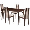 Stanton 5 Piece Espresso Wood Dining Table Set with Curved Slat Wood Dining Chairs - Padded Seats [ES-10-GG]