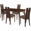 Stanton 5 Piece Walnut Wood Dining Table Set with Curved Slat Wood Dining Chairs - Padded Seats [ES-24-GG]