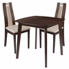 Stonington 3 Piece Espresso Wood Dining Table Set with Curved Slat Wood Dining Chairs - Padded Seats [ES-66-GG]