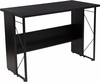Summit Black Computer Desk with Shelf and Metal Frame [NAN-JN21718-GG]