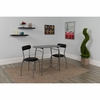 Sutton 3 Piece Space-Saver Bistro Set with Black Glass Top Table and Black Vinyl Padded Chairs [XM-JM-A0278-1-2-BK-GG]