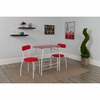 Sutton 3 Piece Space-Saver Bistro Set with Red Glass Top Table and Red Vinyl Padded Chairs [XM-JM-A0278-1-2-RD-GG]