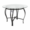 Syracuse 42'' Round Glass Dining Table with Black Metal Frame [XU-TBG-12-GG]