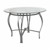 Syracuse 42'' Round Glass Dining Table with Silver Metal Frame [XU-TBG-24-GG]