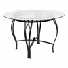 Syracuse 45'' Round Glass Dining Table with Black Metal Frame [XU-TBG-11-GG]