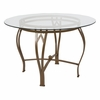 Syracuse 45'' Round Glass Dining Table with Matte Gold Metal Frame [XU-TBG-8-GG]