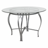 Syracuse 45'' Round Glass Dining Table with Silver Metal Frame [XU-TBG-23-GG]