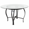 Syracuse 48'' Round Glass Dining Table with Black Metal Frame [XU-TBG-10-GG]