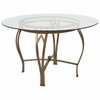Syracuse 48'' Round Glass Dining Table with Matte Gold Metal Frame [XU-TBG-7-GG]