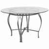 Syracuse 48'' Round Glass Dining Table with Silver Metal Frame [XU-TBG-22-GG]