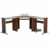Teakwood Laminate Corner Desk with Pull-Out Keyboard Tray and CPU Cart [NAN-WK-105-GG]