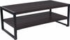 Thompson Collection Charcoal Wood Grain Finish Coffee Table with Black Metal Frame [NAN-JH-1731-GG]