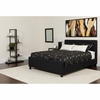 Tribeca Queen Size Tufted Upholstered Platform Bed in Black Fabric with Pocket Spring Mattress [HG-BM-23-GG]