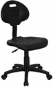 ''Tuff Butt'' Soft Black Polyurethane Utility Swivel Task Chair [WL-908G-GG]