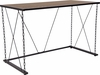 Vernon Hills Collection Antique Wood Grain Finish Computer Desk with Chain Accent Metal Frame [NAN-JN21720T-GG]