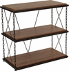 Vernon Hills Collection Antique Wood Grain Finish Two Shelf Bookshelf with Chain Accent Metal Frame [NAN-JN21720PS-GG]