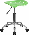 Vibrant Apple Green Tractor Seat and Chrome Stool [LF-214A-APPLEGREEN-GG]