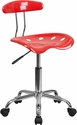Vibrant Cherry Tomato and Chrome Swivel Task Chair with Tractor Seat [LF-214-CHERRYTOMATO-GG]