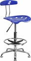 Vibrant Nautical Blue and Chrome Drafting Stool with Tractor Seat [LF-215-NAUTICALBLUE-GG]
