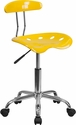 Vibrant Orange-Yellow and Chrome Swivel Task Chair with Tractor Seat [LF-214-YELLOW-GG]