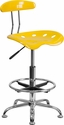 Vibrant Yellow and Chrome Drafting Stool with Tractor Seat [LF-215-YELLOW-GG]