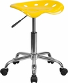 Vibrant Orange-Yellow Tractor Seat and Chrome Stool [LF-214A-YELLOW-GG]