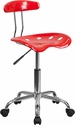 Vibrant Red and Chrome Swivel Task Chair with Tractor Seat [LF-214-RED-GG]