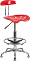 Vibrant Red and Chrome Drafting Stool with Tractor Seat [LF-215-RED-GG]
