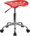 Vibrant Red Tractor Seat and Chrome Stool [LF-214A-RED-GG]