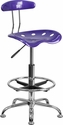 Vibrant Violet and Chrome Drafting Stool with Tractor Seat [LF-215-VIOLET-GG]