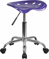 Vibrant Violet Tractor Seat and Chrome Stool [LF-214A-VIOLET-GG]