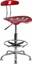 Vibrant Wine Red and Chrome Drafting Stool with Tractor Seat [LF-215-WINERED-GG]