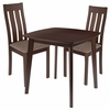 Waterbury 3 Piece Espresso Wood Dining Table Set with Vertical Slat Back Wood Dining Chairs - Padded Seats [ES-70-GG]