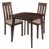 Waterbury 3 Piece Walnut Wood Dining Table Set with Vertical Slat Back Wood Dining Chairs - Padded Seats [ES-84-GG]