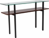 West End Collection Glass Console Table with Walnut Finish Shelf [NAN-JH-1742-GG]
