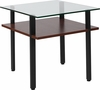 West End Collection Glass End Table with Walnut Finish Shelf [NAN-JH-1743-GG]