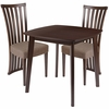 Westerly 3 Piece Espresso Wood Dining Table Set with Dramatic Rail Back Design Wood Dining Chairs - Padded Seats [ES-62-GG]