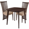 Westerly 3 Piece Walnut Wood Dining Table Set with Dramatic Rail Back Design Wood Dining Chairs - Padded Seats [ES-76-GG]