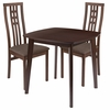 Weston 3 Piece Walnut Wood Dining Table Set with High Triple Window Pane Back Wood Dining Chairs - Padded Seats [ES-81-GG]