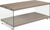 Weston Collection Natural Wood Grain Finish Coffee Table with Glass Frame and Shelves [NAN-JN-2626CT-N-GG]