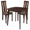Westport 3 Piece Espresso Wood Dining Table Set with Vertical Wide Slat Back Wood Dining Chairs - Padded Seats [ES-68-GG]